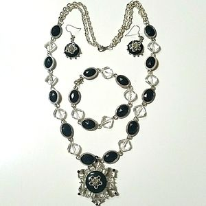 Vintage Black/Clear Crystals Beaded Chain Necklace